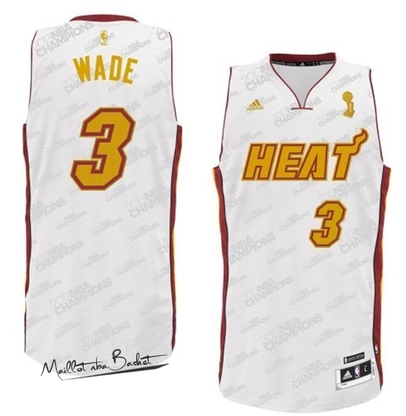 Maillot NBA Miami Heat NO.3 Dwyane Wade Blanc Or