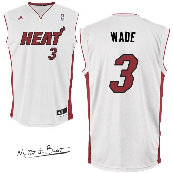Maillot NBA Miami Heat NO.3 Dwyane Wade Blanc Rouge