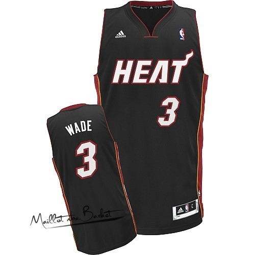 Maillot NBA Miami Heat NO.3 Dwyane Wade Noir Rouge