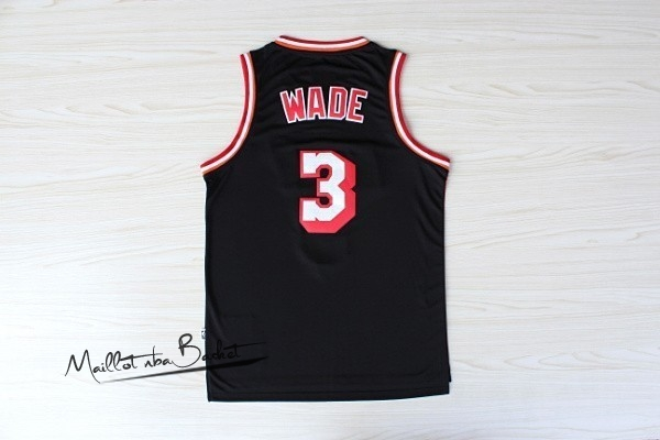 Maillot NBA Miami Heat NO.3 Dwyane Wade Retro Noir