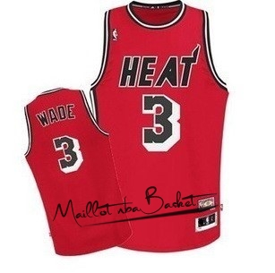 Maillot NBA Miami Heat NO.3 Dwyane Wade Retro Rouge