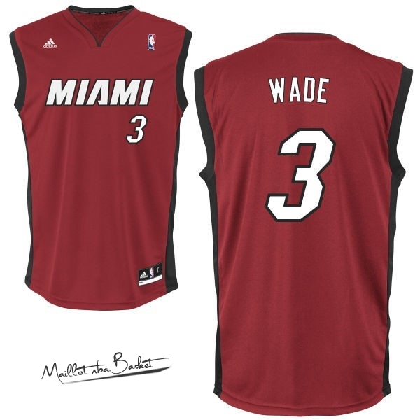 Maillot NBA Miami Heat NO.3 Dwyane Wade Rouge Noir
