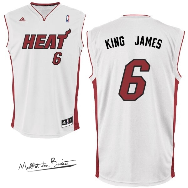 Maillot NBA Miami Heat NO.6 King James Blanc