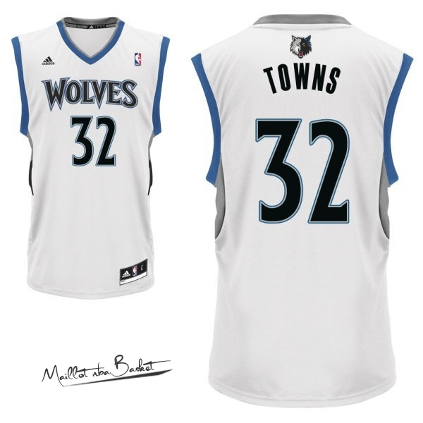 Maillot NBA Minnesota Timberwolves NO.32 Karl Anthony Towns Blanc