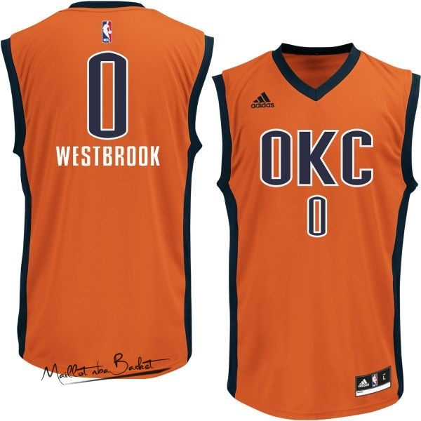 Maillot NBA Oklahoma City Thunder NO.0 Russell Westbrook Orange