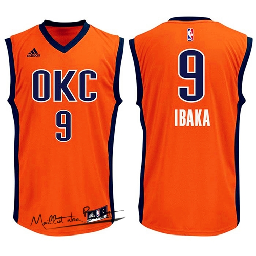 Maillot NBA Oklahoma City Thunder NO.9 Serge Ibaka Orange