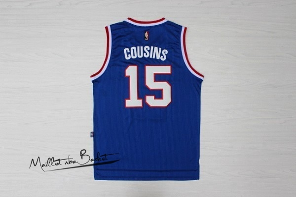 Maillot NBA Sacramento Kings NO.15 DeMarcus Cousins Retro Bleu
