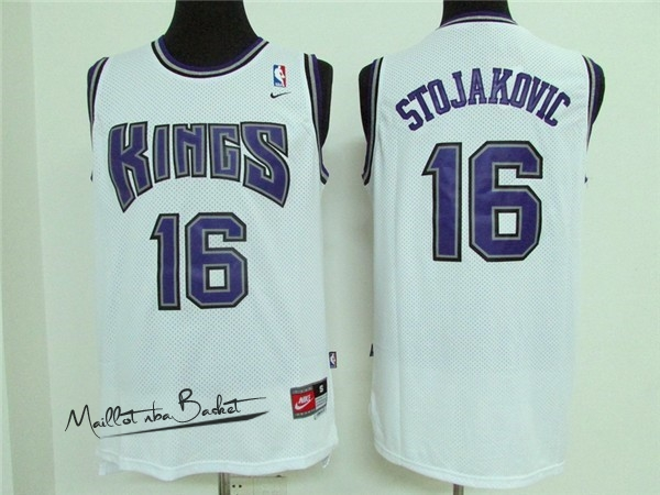 Maillot NBA Sacramento Kings NO.16 Peja Stojakovic Retro Blanc