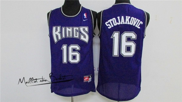 Maillot NBA Sacramento Kings NO.16 Peja Stojakovic Retro Pourpre