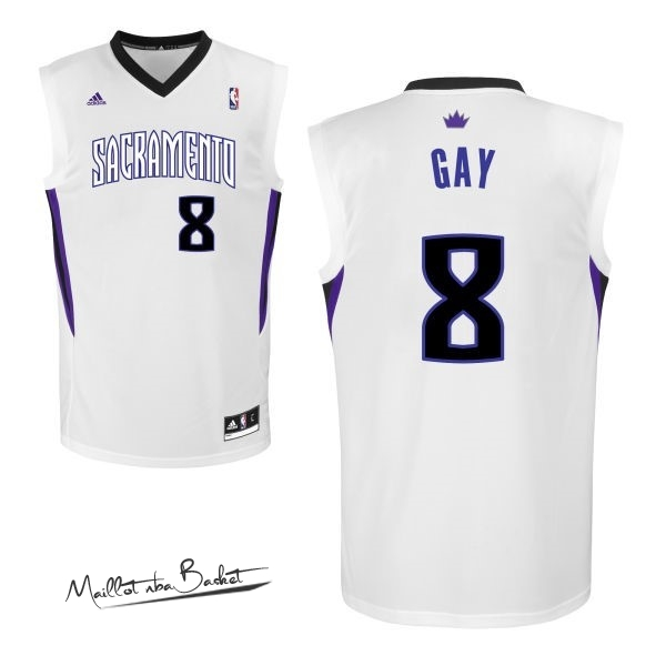 Maillot NBA Sacramento Kings NO.8 Rudy Gay Blanc
