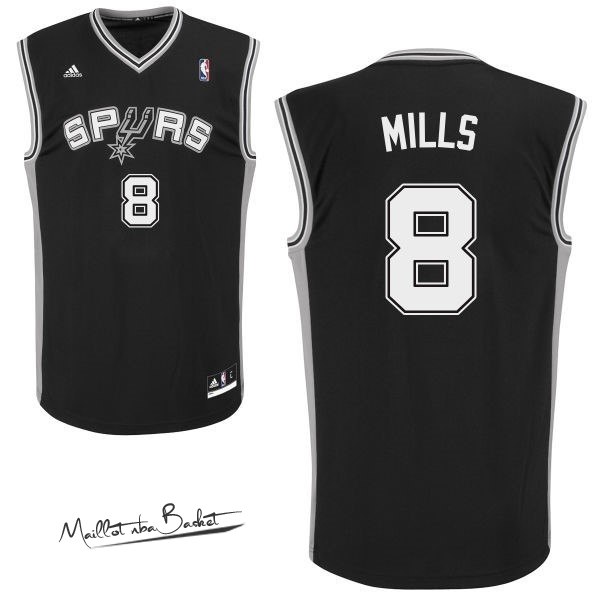 Maillot NBA San Antonio Spurs NO.8 Patty Mills Noir