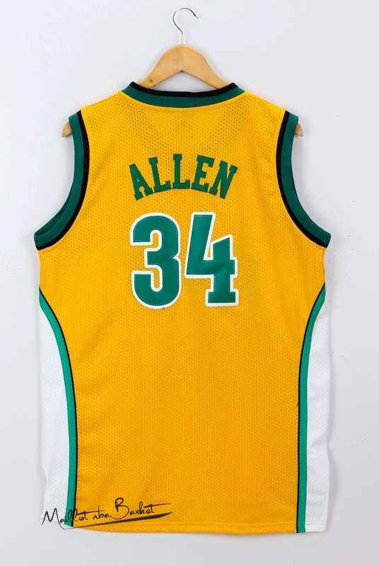 Maillot NBA Seattle Supersonics NO.34 Ray Allen Jaune