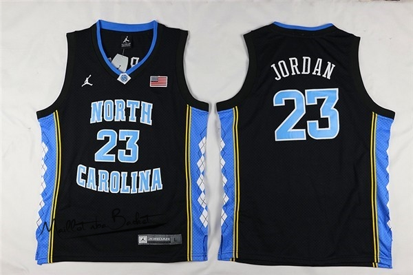 Maillot NCAA Enfant North Carolina NO.23 Michael Jordan Noir