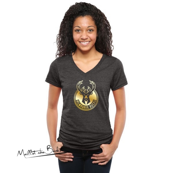 T-Shirt Femme Milwaukee Bucks Noir Or